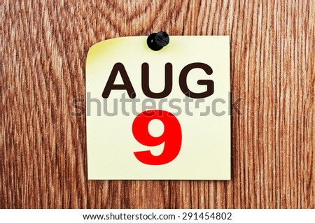 August 9 Calendar. Part of a set - stock photo