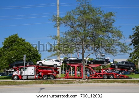 August 3 2016 deerfield beach fl stock photo royalty free august 3 2016 deerfield beach fl a car carrier truck carrying the latest models solutioingenieria Image collections