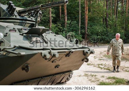August 14, 2015. Kiev, Ukraine. Testing the new BTR-3E (armored personnel carrier).