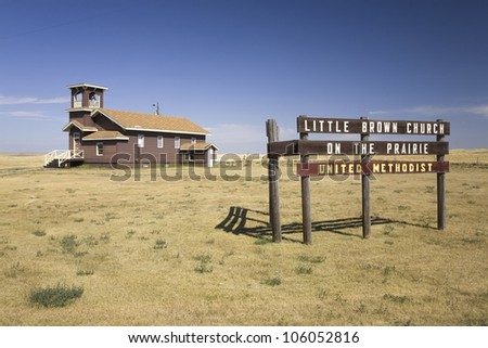 AUGUST 2007 - Little Brown Church on the Prairie, United Methodist, US 34, Hayes, South Dakota - stock photo