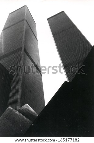 AUGUST 1991 - NEW YORK: the Twin Towers of the World Trade Center, Manhattan, New York. - stock photo