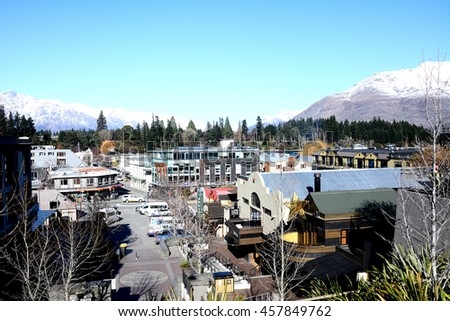 August 12, 2015 : Port In Queenstown Mall.This is  one of the most popular  travel destination in New Zealand  ski tourism and extreme sport adventure. - stock photo