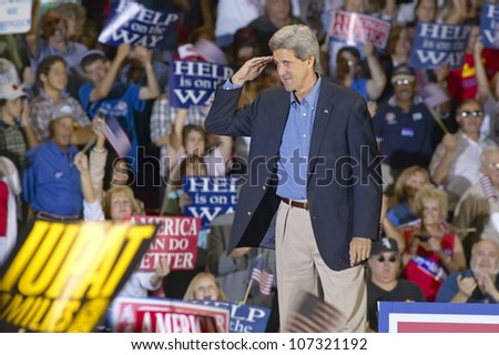 AUGUST 2004 - Senator John Kerry salutes to audience of supporters at the Thomas Mack Center at UNLV,  Las Vegas, NV