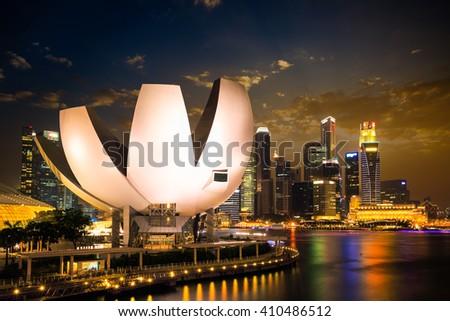 AUGUST 23, 2015 SINGAPORE - Singapore Skyline and view of Marina Bay at night - stock photo