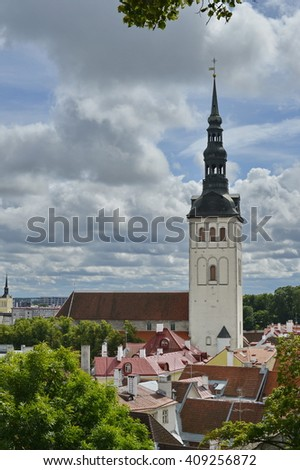 August, 2015  - Tallinn, Estonia. St. Olaf's Church have been built in the 12th century and to have been the centre for old Tallinn's Scandinavian community before Denmark conquered Tallinn in 1219.