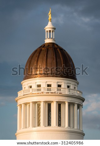 AUGUSTA, MAINE - JULY 29: Dome of the Maine State House on July 29, 2015 in Augusta, Maine - stock photo