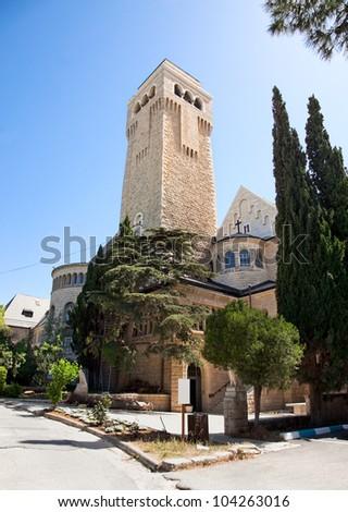 Augusta (Ogusta) Victoria hospital and church on Har Ha-Zeitim (Mount of Olives), Jerusalem, Israel - stock photo