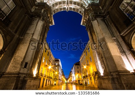 Augusta Street Arch in Commerce Square in Lisbon , Portugal - stock photo