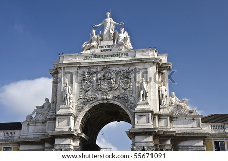Augusta Street Arch is the triumphal arch connecting the Commerce Square to the Augusta Street. It has a clock and statues of Viriatus, Nuno Álvares Pereira, Vasco da Gama and Marquis of Pombal - stock photo