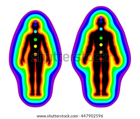 Aura and chakras on white background - illustration - stock photo