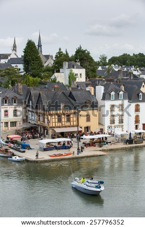Auray, France - August 11: View of the old town centre in Auray, France on August 11, 2014.