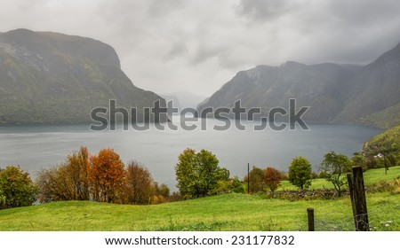 Aurlandsfjord in the mist,  near Aurland,  Norway.  It is located on the south side of the Sognefjorden in the district of Sogn. - stock photo