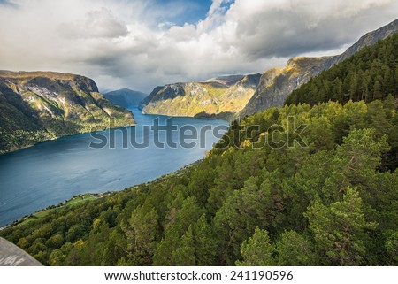 Aurlandsfjord near Aurland, Sogn og Fjordane, Norway.  It is located on the south side of the Sognefjorden in the district of Sogn. - stock photo