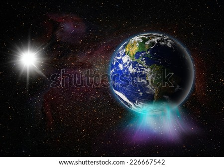 "Aurora australis (southern light) ""Element s of this image furnished by NASA ""  - stock photo"