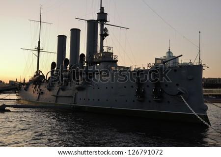 Aurora battleship at dusk - stock photo
