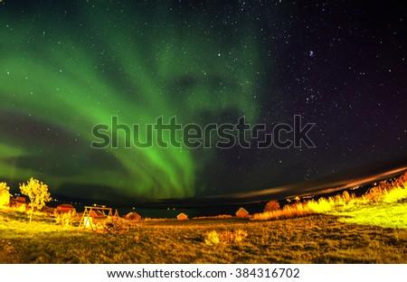 Aurora borealis, Blurry background, Norway - stock photo