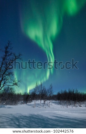 Aurora Borealis in Norway - stock photo