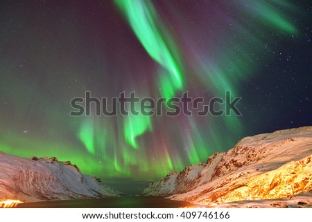 Aurora Borealis Over Ersfjorden, Tromso, Northern Norway
