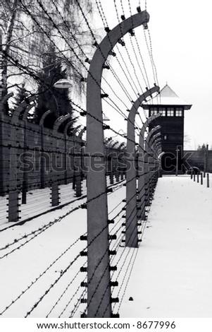 Auschwitz Barbed Wire Fence, Poland - stock photo