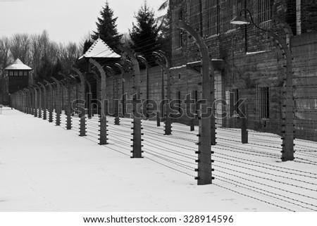 Auschwitz Birkenau a former Nazi extermination camp in Brzezinka, Poland near Oswiecim. This wagon of train has deported prisoners to the camp - stock photo