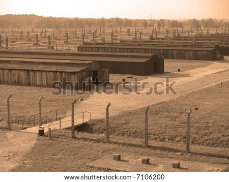 Auschwitz - Birkenau concentration camp in Poland - stock photo
