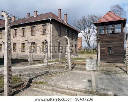 Auschwitz concentration camp in Poland - stock photo