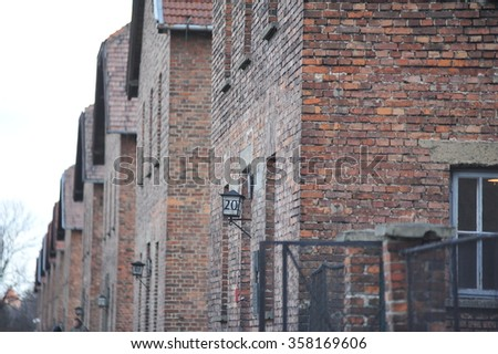 Auschwitz concentration camp. Was a network of German Nazi concentration camps and extermination camps built and operated by the Third Reich in Polish areas annexed by Nazi Germany during World War II - stock photo