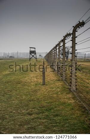 Auschwitz in Winter Fog - stock photo