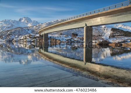 Austerstraumen Bridge on E10 road in Nordland, Norway