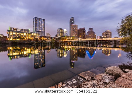 Austin downtown at night and reflection, Texas - stock photo