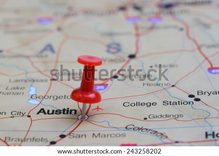 Austin pinned on a map of USA  - stock photo