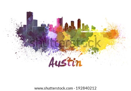 Austin skyline in watercolor splatters with clipping path - stock photo