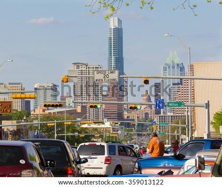 AUSTIN, TEXAS: APRIL 6 2013: A view of downtown Austin from south Congress Avenue