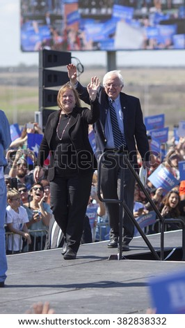 AUSTIN, TEXAS - FEBRUARY 27, 2016: Bernie Sanders and Jane Sanders arrive at a campaign rally held at the Circuit of the Americas. - stock photo