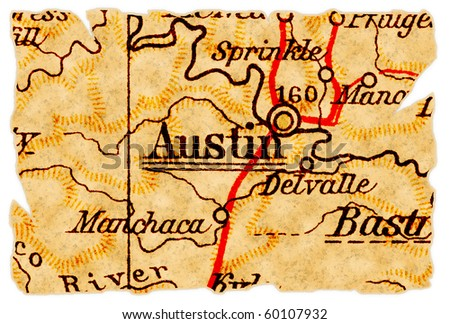 Austin, Texas on an old torn map from 1949, isolated. Part of the old map series. - stock photo