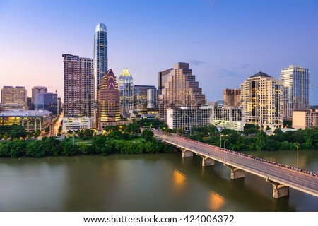 Austin, Texas, USA downtown skyline. - stock photo