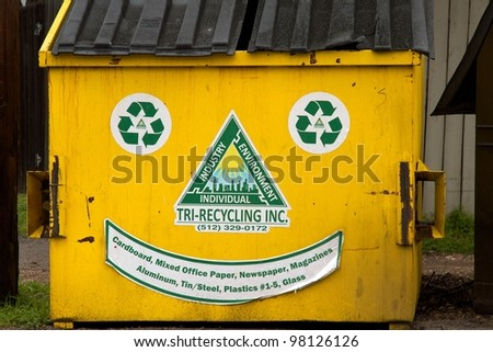 Austin, TX - March 11: SXSW Interactive Conference in Austin. Recycling is a serious business in Austin. - stock photo