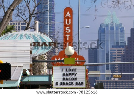 Austin, TX - March 12: SXSW Interactive Conference in Austin.   South Congress Ave. is full of interesting shops and hotel. - stock photo