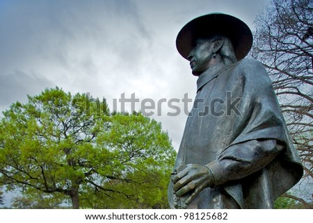 Austin, TX - March 9: SXSW Interactive Conference in Austin. Stevie Ray Vaughan status located in Zilker Park - stock photo