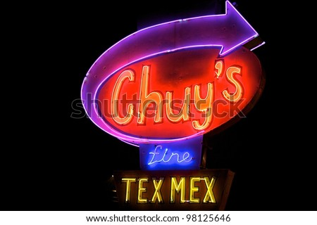Austin, TX - March 8: The Night before SXSW Interactive Conference in Austin. Chuy's is a popular TexMex restaurant in Austin. - stock photo