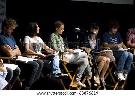 AUSTIN,TX - OCT. 24:  Alexa Vega, Jessica Alba,Aubrey Plaza and Daryl Sabara at the ' The Hand Job ' Script Reading during the Austin Film Festival on October 24, 2010 in Austin, TX. - stock photo