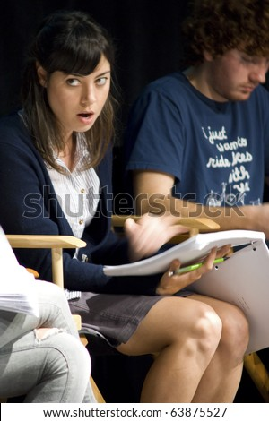 AUSTIN,TX - OCTOBER 24: Actress Aubrey Plaza reads ' The Hand Job ' Script at the Rollins Theatre during the 17th Annual Austin Film Festival on October 24, 2010 in Austin, TX. - stock photo