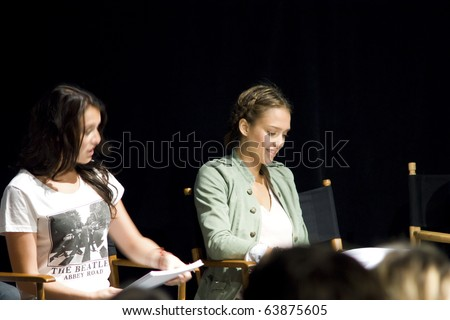 AUSTIN,TX - OCTOBER 24:  Alexa Vega and Jessica Alba read ' The Hand Job ' Script Reading at the Rollins Theatre during the 17th Annual Austin Film Festival on October 24, 2010 in Austin, TX. - stock photo
