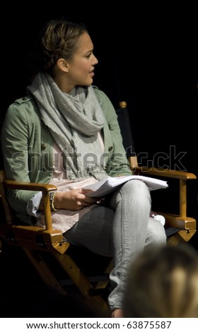 AUSTIN,TX - OCTOBER 24:  Jessica Alba looks at somone at ' The Hand Job ' Script Reading at the Rollins Theatre during the 17th Annual Austin Film Festival on October 24, 2010 in Austin, TX. - stock photo