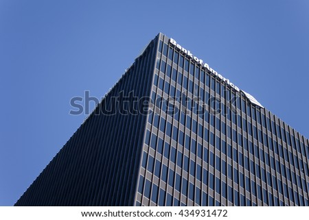 AUSTIN, TX/USA - APRIL 15, 2016: Bank of America Center. Bank of America is an American multinational banking and financial services corporation headquartered in Charlotte, North Carolina.