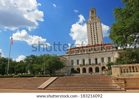 AUSTIN,USA - JULY 19, 2008: Academic building dome in University of Texas (UT) in Austin, Texas. UT, founded in 1883, has the fifth-largest single-campus enrollment in US. - stock photo