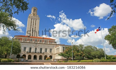 AUSTIN,USA - JULY 19, 2008: Landscape of Academic building dome in University of Texas (UT) in Austin, Texas. UT, founded in 1883, has the fifth-largest single-campus enrollment in US. - stock photo