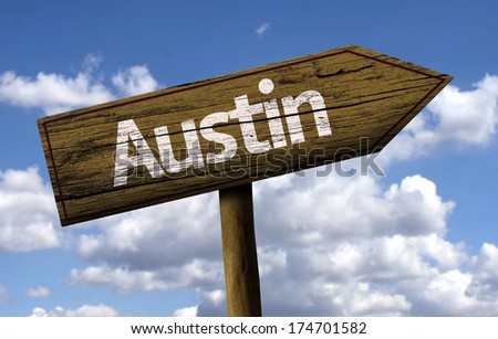 Austin wooden sign on a beautiful day - stock photo