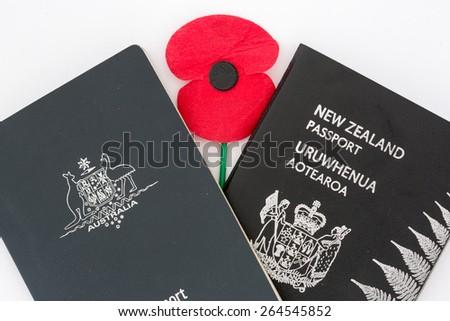 Australia and New Zealand Passport with poppy.  - stock photo