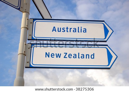 Australia and New Zealand signs - stock photo